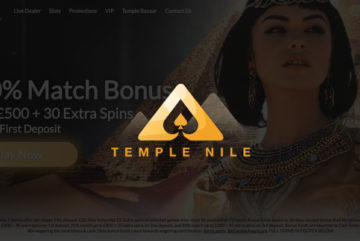 Temple Nile Casino sign up offer: £1500 + 105 free spins